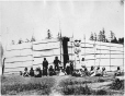 MP-0000.343.1 | West Coast aboriginal house and totem pole, BC, about 1885 | Photograph | Anonyme - Anonymous |  |