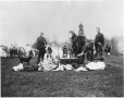 MP-0000.356 | Aboriginal people and North West Mounted Police with dance drum, Rivière Qui Barre, AB, 1900 | Photograph | H. B. Dawson |  |