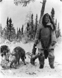 MP-0000.597.198 | Woman in Inuit clothing with two dogs, in a forested area, 1910-27 | Photograph | Captain George E. Mack |  |