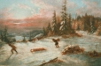 M967.100.17 | Winter Sunset with Coureurs des Bois | Painting | Cornelius Krieghoff (1815-1872) |  |