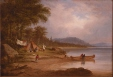 M967.100.4 | An Aboriginal encampment at lakeside | Painting | Cornelius Krieghoff (1815-1872) |  |