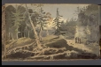 M928.92.1.95   Landscape with Fir Trees and Figures to Right   Painting   George Heriot     