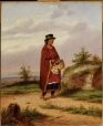 M984.53 | Aboriginal Woman with basket of moccasins and embroidered pouches | Painting | Cornelius Krieghoff (1815-1872) |  |