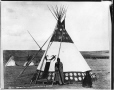 MP-1973.49.170 | Assinaitappi and woman, Sarcee, near Calgary, AB, about 1885 | Photograph | William Hanson Boorne |  |