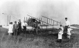 MP-1985.1.23 | Pollien biplane, near Ste-Hélène Street, St- Lambert, QC, 1915 | Photograph | William Murray (?) |  |