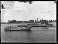 MP-1985.31.126 | Coffer dam and derrick on barge, Bout de L'Isle, QC, about 1900 | Photograph | N. M. Hinshelwood |  |
