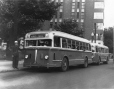 MP-1989.15.13 | One of the first buses, Atwater Terminus, Montreal, QC, about 1955 | Photograph | Walter Jackson |  |