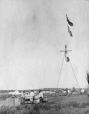 M2000.113.6.252 | Revillon Freres flag-pole at Fort Chimo (Kuujjuaq), Ungava Bay, 1909 | Photograph | Hugh A. Peck |  |