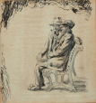 M2000.29.1 | Two men sitting on a bench | Drawing | Ernst Neumann, 1907-1956 |  |