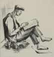 M2000.29.5 | Man reading book with boots off | Print | Ernst Neumann, 1907-1956 |  |