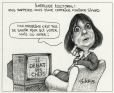 M2000.93.2.1-2 | Electoral Interlude: Does anyone remember Monique Simard? | Montage (computer drawing) | Serge Chapleau |  |
