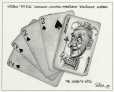 """M2000.93.36.1-2   William """"Pit Bill"""" Johnson, New President of Alliance Quebec: The Joker is wild   Montage (computer drawing)   Serge Chapleau     """