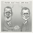 M2001.99.24.1-4 | Gore and Bush Finally Meet | Montage (computer drawing) | Serge Chapleau |  |
