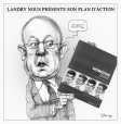 M2003.143.21.1 | Landry unveils his action plan | Montage (computer drawing) | Serge Chapleau |  |