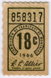 M2006.127.6.4 | 18 cent ticket issued by the Montreal Transportation Commission | Ticket | Montreal Transportation Commission |  | 