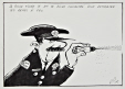 M2011.105.244 | The police try concentrated pepper spray as an alternative to firearms | Drawing | Roland Pier |  |