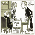 M2012.123.710 | Rent a Clown: Support the NDP | Drawing | Duncan Macpherson (1924-1993) |  |