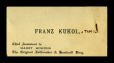M2014.128.702.4 | Carte professionnelle de Franz Kukol, assistant en chef de Harry Houdini | Carte |  |  |