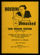 M2014.128.705.30 | Houdini Unmasked. Code Message Received by Beatrice Houdini | Booklet |  |  |