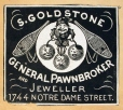 M930.50.1.243 | Étiquette commerciale de S. Goldstone, General Pawn-broker and Jeweller | Estampe | John Henry Walker (1831-1899) |  |