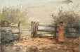 M966.176.60 | Woman Standing in an Enclosure | Painting | Edmond Dyonnet, 1859-1954 |  |