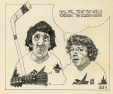 M988.176.289 | Two Hockey Players | Drawing | Aislin (alias Terry Mosher) |  |