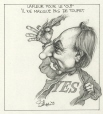 M996.10.473 | Lafleur Tips His Toupet for Yes Campaign | Drawing | Serge Chapleau |  |