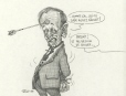 M996.10.740 | ...Do I look angry enough? -Perfect, hold that pose! | Drawing | Serge Chapleau |  |