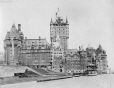 MP-0000.2078.4   Dufferin Terrace and the Chateau Frontenac, new tower under construction, Quebec City, QC, 1922-23   Photograph   Thaddée Lebel     