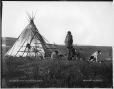 VIEW-1821 | Cree woman and children in front of tipi, Calgary, AB, 1887 | Photograph | William McFarlane Notman |  |