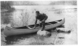 VIEW-24767.0.1 | Aboriginal canoeing, Lac-à-la-Pêche, Grand'Mère, QC, copied 1929 | Photograph | Anonyme - Anonymous |  |