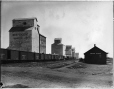 VIEW-8570 | Grain elevators and train, Claresholm, AB, 1918 | Photograph | Wm. Notman & Son |  |